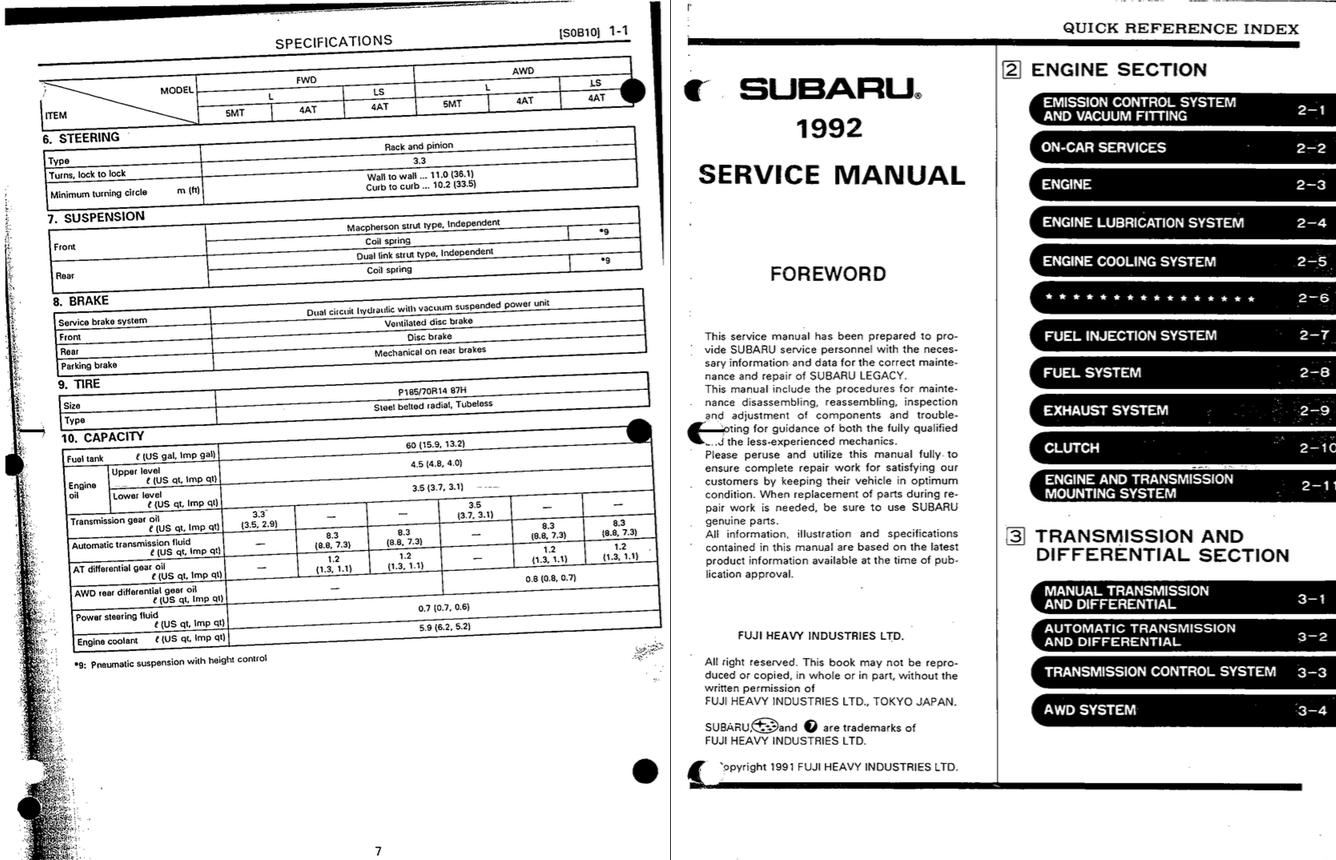 Subaru Legacy Service And Repair Manual - Zofti