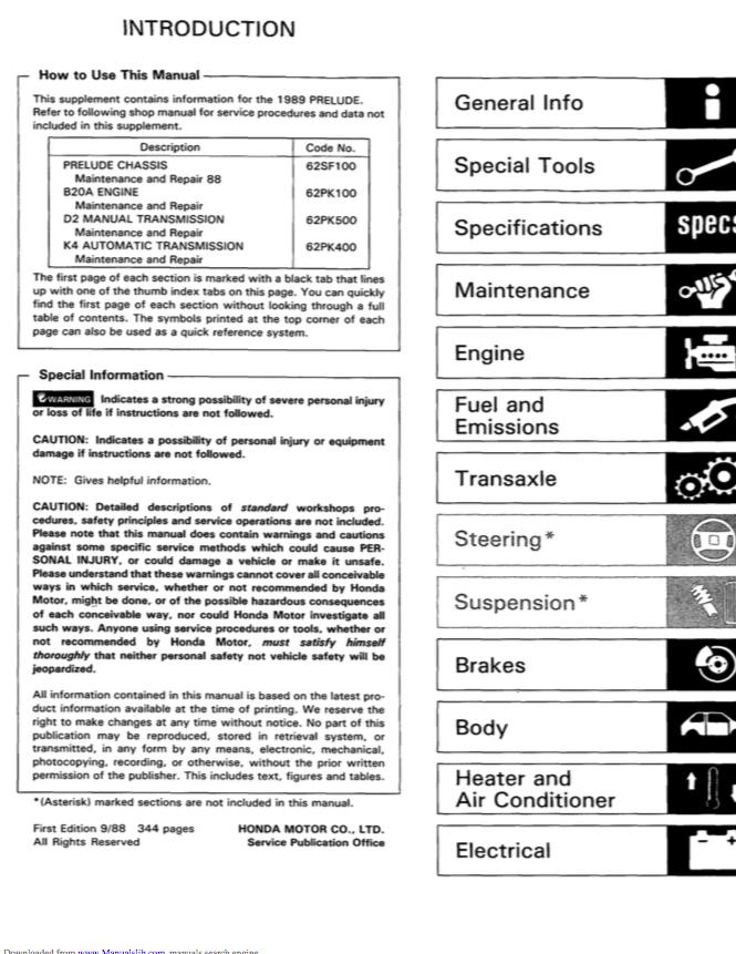 Workshop manual service & repair guide for honda prelude 1998-2001.