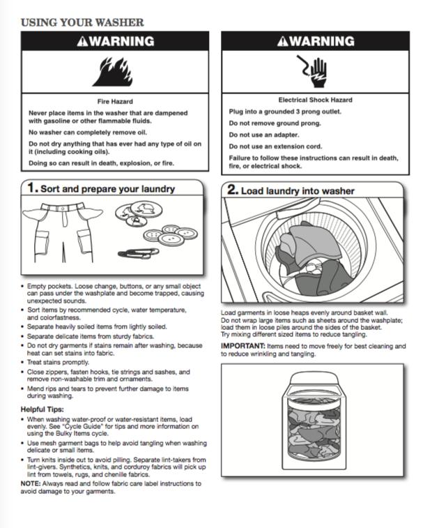 Whirlpool Cabrio washer manual - ZOFTI - Free downloads