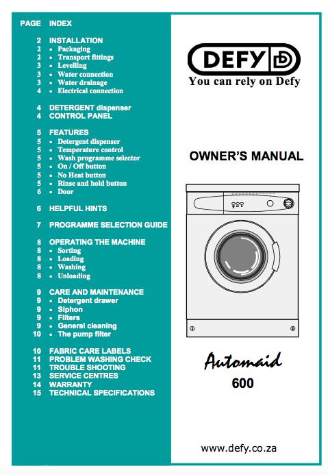 Download Defy automaid 600 manual / Zofti - Free downloads